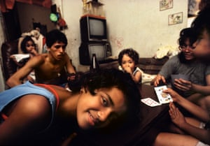 The Rodriguez family in their living room
