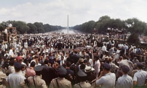 Crowds on the mall between the Washington Monument and the Lincoln Memorial (not pictured) during the March on Washington for Jobs and Freedom, in August 1963.