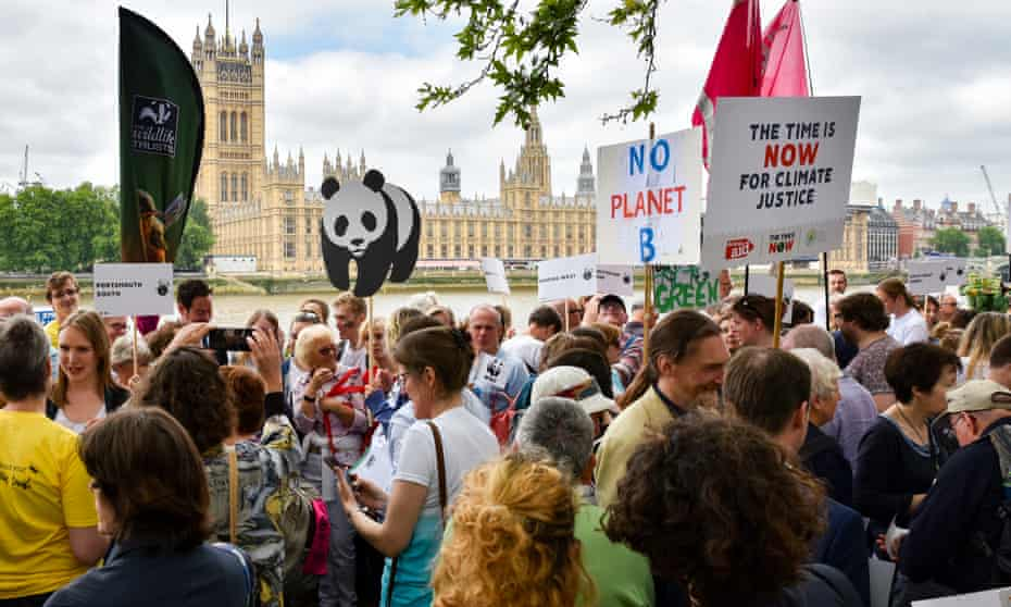 The Time Is Now lobby comprises children, WI members, teachers and climate activists.