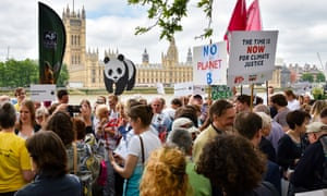Campaigners lobbying parliament as part of event organised by The Climate Coalition and Greener UK.