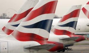 Tail fins of British Airways' aircraft at Heathrow