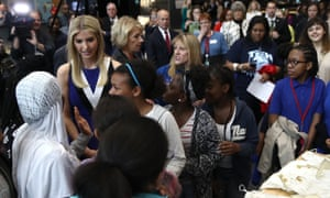 Ivanka Trump greets female students highlighting the study of science, technology, engineering and mathematics while touring The Smithsonian Air and Space Museum on 28 March 2017 in Washington DC.
