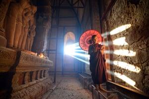 A monk at Bagan, Myanmar.