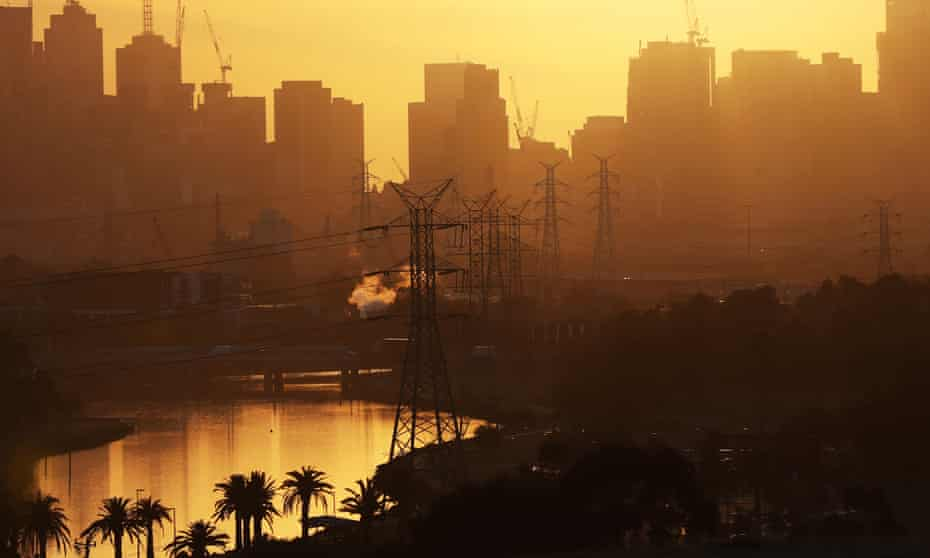 The sun rises over Melbourne on a scorching day