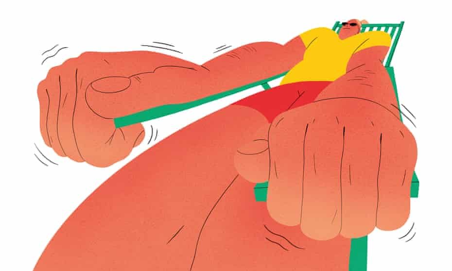 Illustration of person with shaking hands gripping a sun lounger
