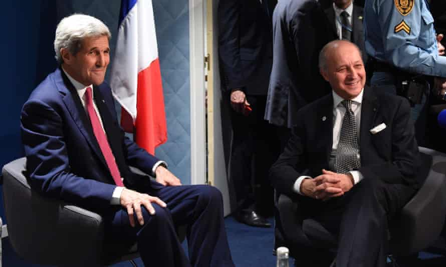 US secretary of state, John Kerry, and French foreign minister, Laurent Fabius, on the sidelines of the COP 21 conference on climate change in Paris.