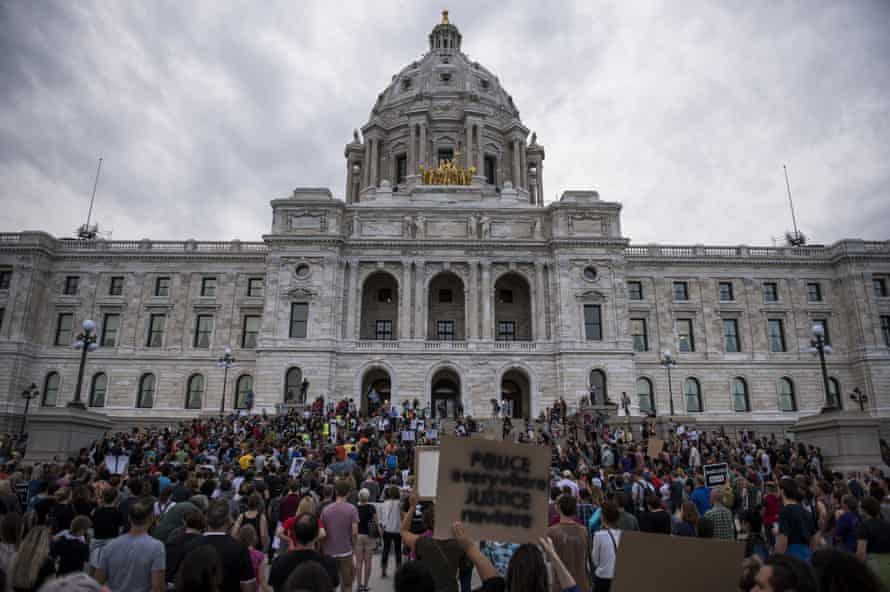 Protestors pack the steps of the Minnesota State Capitol building in St Paul.