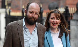 Theresa May's advisers Nick Timothy and Fiona Hill are pictured outside Conservative party headquarters on 9 June.
