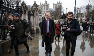 Sir Ivan Rogers (centre) outside the Houses of Parliament after giving evidence to the European scrutiny select committee.