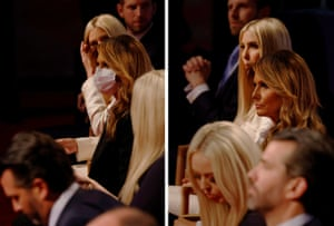 This combination of two photographs shows first lady Melania Trump wearing a face mask and then going without it along with the rest of the Trump family, including (from foreground) Donald Trump Jr., Tiffany Trump, Ivanka Trump and Eric Trump, before the start of the first presidential debate between U.S. President Donald Trump and Democratic presidential nominee Joe Biden in Cleveland, Ohio, U.S., September 29, 2020. Pictures taken September 29, 2020.