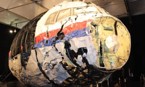 The reconstructed front of the Malaysia Airlines plane that was downed by a missile over Ukraine, killing 298 people.