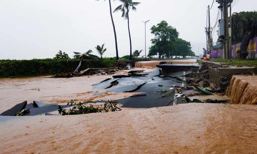 The floodwaters destroyed roads in Dili, Timor-Leste.