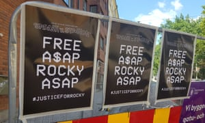 Posters in Stockholm calling for the freedom of A$AP Rocky.