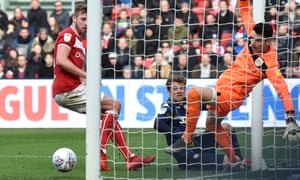 Patrick Bamford scores the only goal of the game for Leeds against Bristol City.