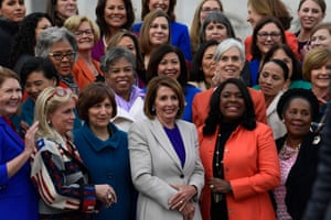 The women of the 116th Congress, including House Speaker Nancy Pelosi, center front row, pose for a group photo on Capitol Hill in Washington.