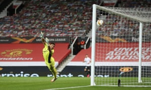 inz's Philipp Wiesinger scores their first goal as Manchester United's Sergio Romero attempts a save.