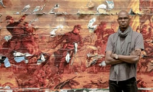 'I didn't become an artist to be appropriate' … Mark Bradford with his monumental civil war work Pickett's Charge.