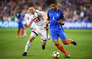 Raphaël Varane, right, in action for France against Belarus in a World Cup qualifying game in Paris in October last year.