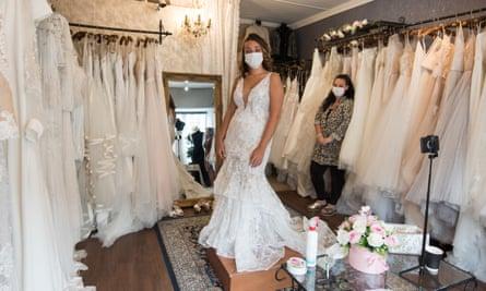 Bride in face mask
