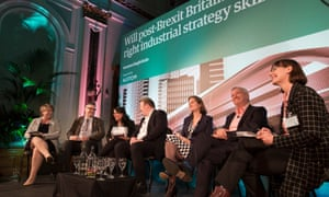 The panel at the Guardian event in Birmingham, discussing Britain's post-Brexit skills