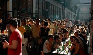 People outside a Cafe, Brick Lane, East London