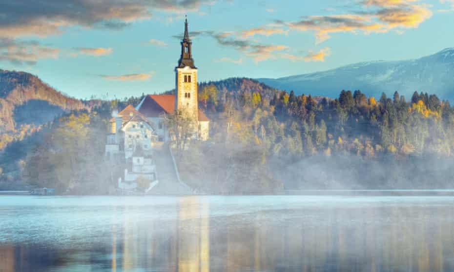Misty morning shot of Lake Bled, Slovenia.