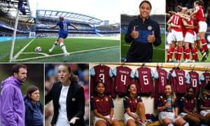 Clockwise from top left: Chelsea v Spurs sold out Stamford Bridge; Sam Kerr signs for Chelsea; Arsenal will find it tougher defending their title; Aston Villa are Championship leaders; Manchester United's Casey Stoney;Spurs duo Karen Hills and Juan Amoros.