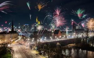 Fireworks explode over Frankfurt am Main, Germany