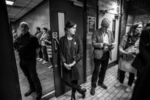 Corbyn prepares to go on stage in Newport
