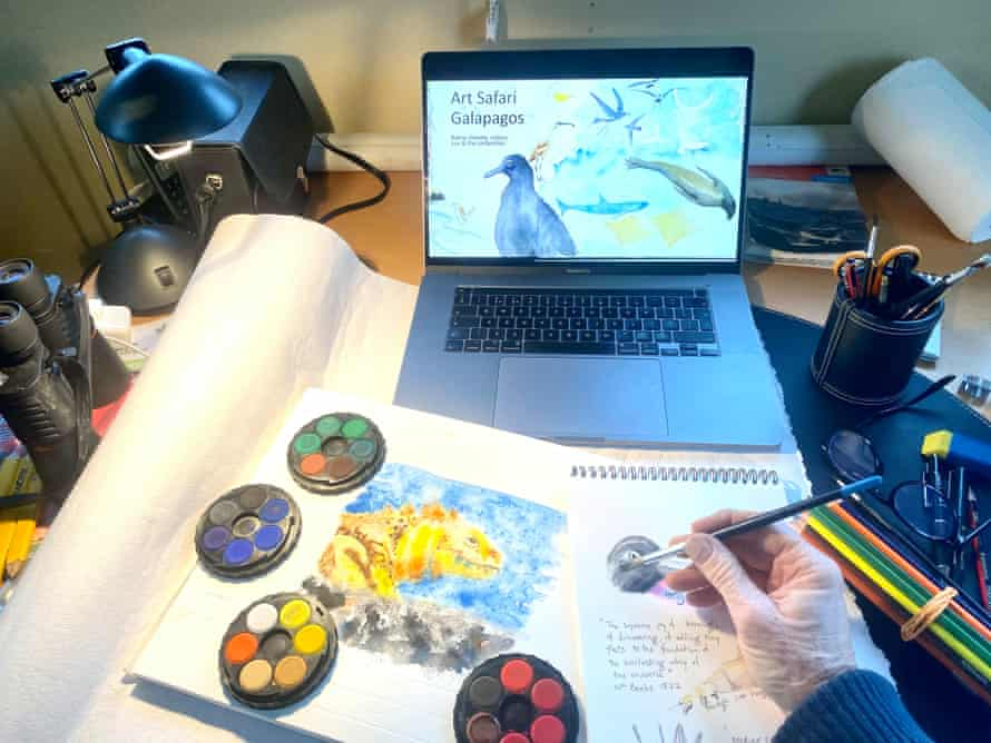 The writer on a virtual art class in the Galápagos Islands.