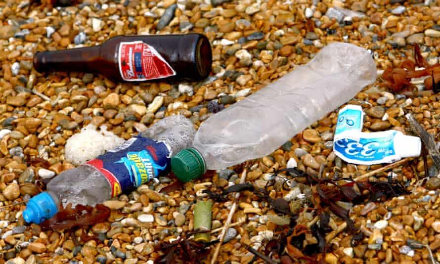 Rubbish left on a British beach.