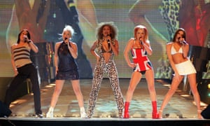 The Spice Girls perform at the Brit Awards in London in February 1997.