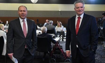 Australian treasurer Josh Frydenberg and finance minister Mathias Cormann at the National Press Club on Friday