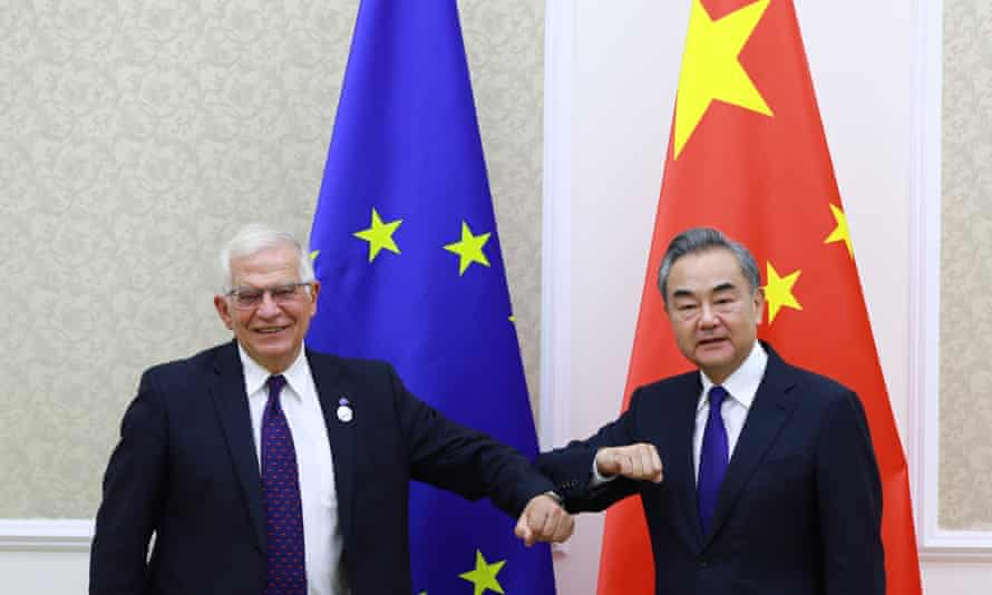 Chinese foreign minister Wang Yi meets with EU high representative for foreign affairs and security policy Josep Borrell in Tashkent, Uzbekistan in July 2021.