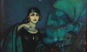 Pola Negri y Rudolph Valentino by Federico Beltrán Masses. The portrait shows Negri wearing Valentino's 'cursed' ring.