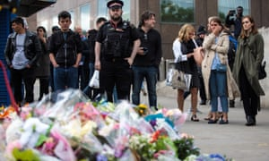 Floral tributes left on London Bridge.