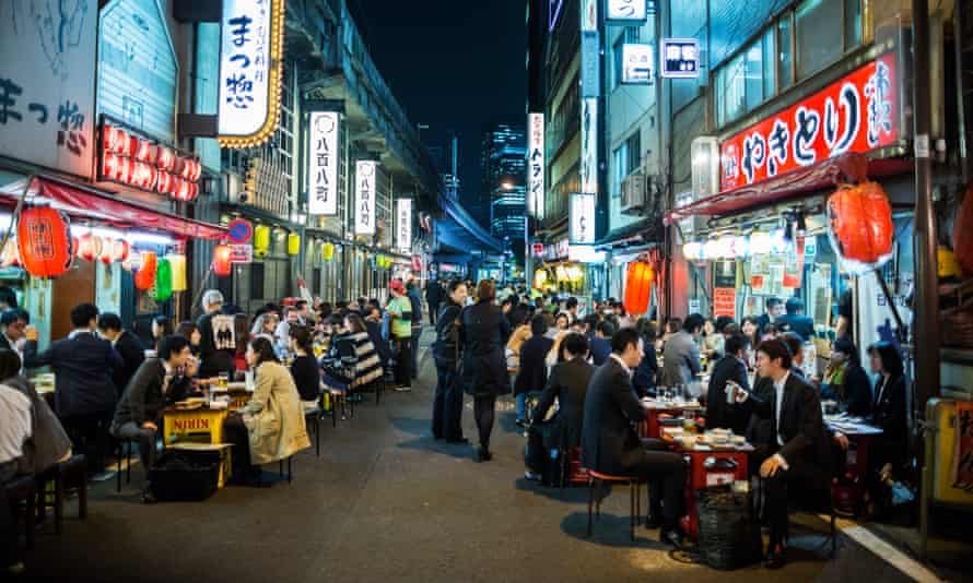 People eating out in Tokyo.