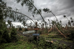 Suszek, Poland - Broken trees left in the wake of a powerful storm