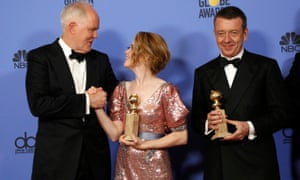 Lithgow backstage with Claire Foy and Peter Morgan.