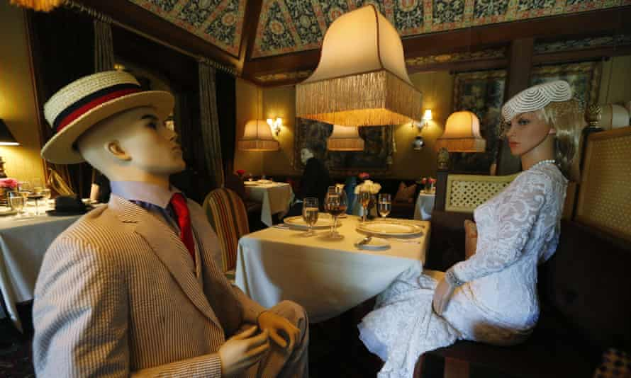 Mannequins provide social distancing at the Inn at Little Washington as they prepare to reopen their restaurant Thursday in Washington, Virginia.