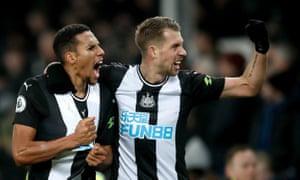 Newcastle United's Florian Lejeune celebrates scoring his side's second late goal.
