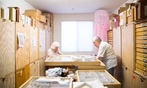 Charles and Lois O'Brien walk through their weevil and plant hopper collection.