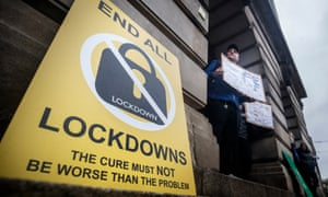 Anti-lockdown poster in Nottingham. The city will be under tier 3 Covid-19 restrictions from Thursday.