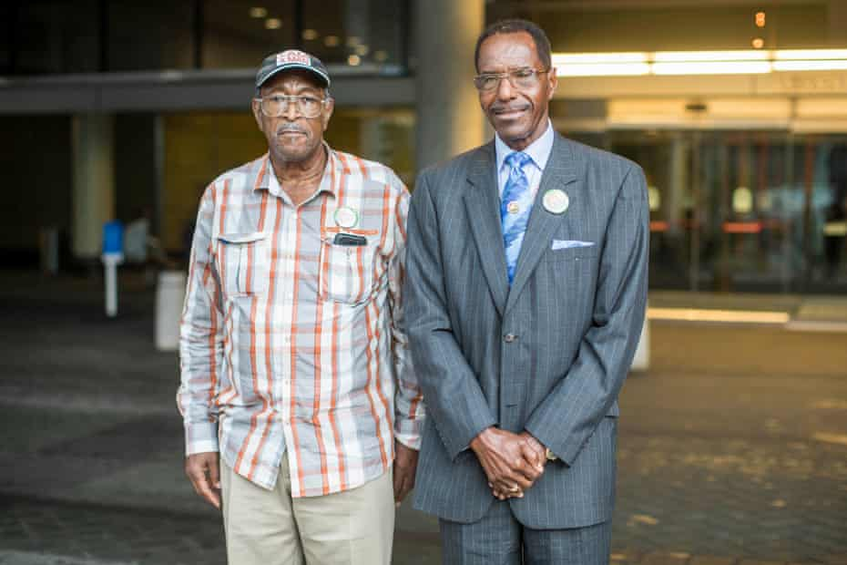 Ozell Ueal, left, and Rev. Cleophus Smith at the 43rd International Convention of the American Federation of State, County and Municipal Employees in Boston, Mass., 17 July 2018.