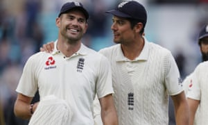 James Anderson and Alastair Cook on the last day of the fifth Test match between England and India at the Oval in London on 11 September, 2018