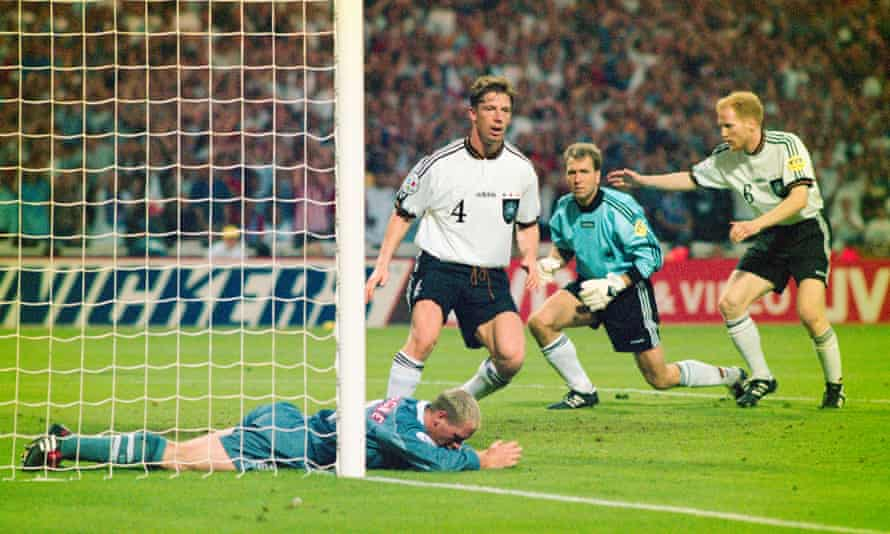 Paul Gascoigne misses a chance to score in England's semi-final with Germany.