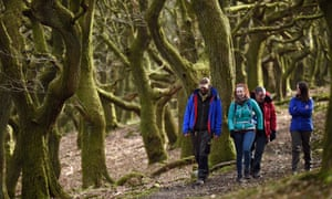 Walkers exploring St Mary's Vale, Brecon Beacons, Powys.