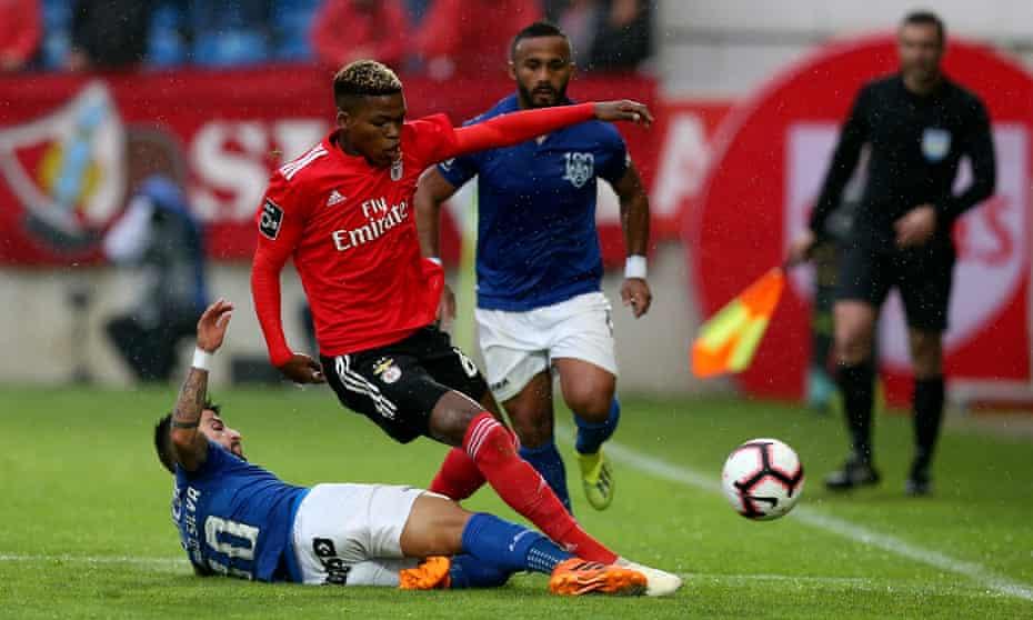 Benfica's Florentino Luis takes on Feirense's Tiago Silva