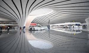 Interior view of Daxing airport in Beijing.