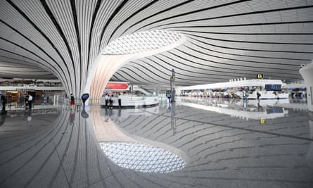 Interior view of Daxing airport in Beijing.